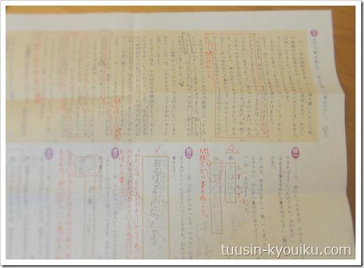 Z会小学生コース3年生の国語の添削問題。添削済みで赤ペン入り。