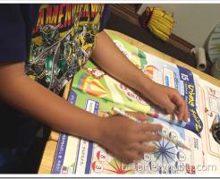 チャレンジ1年生で家庭学習中の男の子